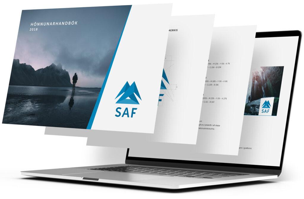 Mynd af SAF logo á tölvuskjá